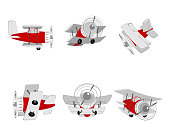 Vector illustration of the aircraft from different angles