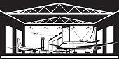 Aircraft hangar at airport
