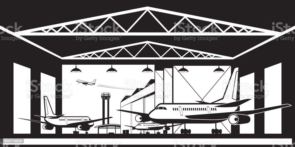 Aircraft hangar at airport vector art illustration