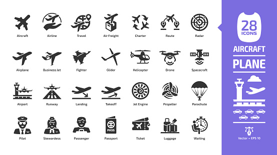Aircraft icon set with flight plane glyph symbols: airplane, business jet, airport, fly aeroplane, commercial aviation, travel air, military fighter, airline, cargo aero transport landing and takeoff.