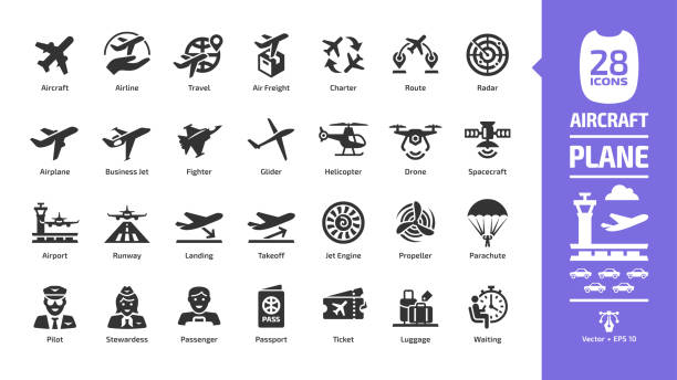 Aircraft icon set with flight plane glyph symbols: airplane, business jet, airport, fly aeroplane, commercial aviation, travel air, military fighter, airline, cargo aero transport landing and takeoff. Aircraft icon set with flight plane glyph symbols: airplane, business jet, airport, fly aeroplane, commercial aviation, travel air, military fighter, airline, cargo aero transport landing and takeoff. plane stock illustrations