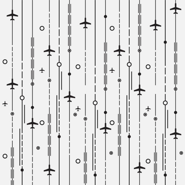 Aircraft illustration. Vector illustration of aircraft background. airport backgrounds stock illustrations