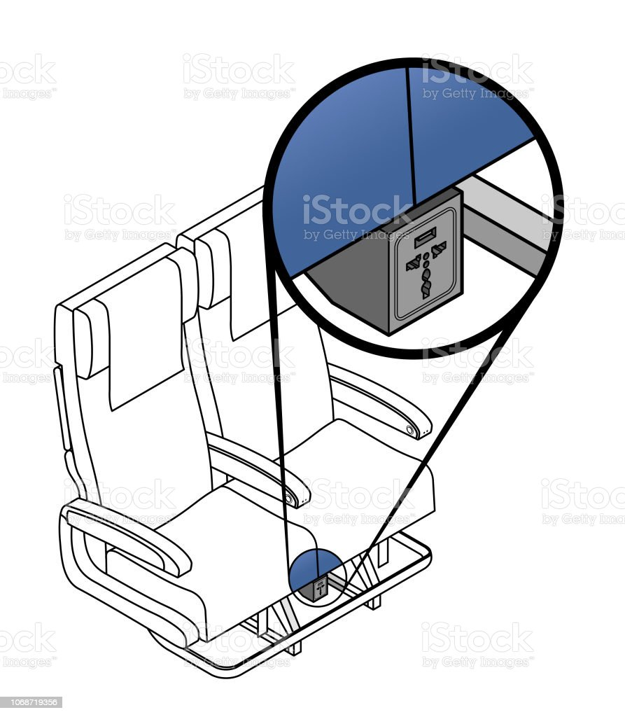 Aircraft in-seat power vector art illustration