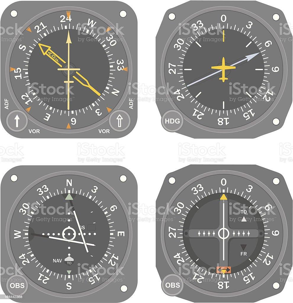 Aircraft instruments (set #5) royalty-free stock vector art