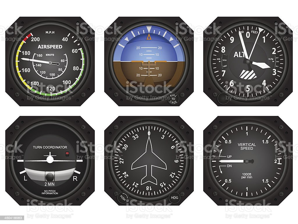 Aircraft Instruments vector art illustration