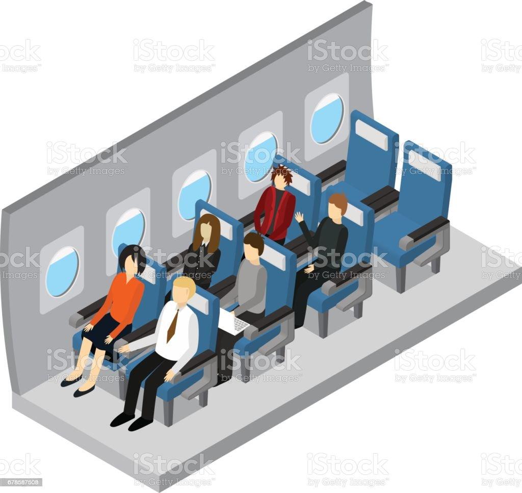 Aircraft Interior Isometric View. Vector vector art illustration