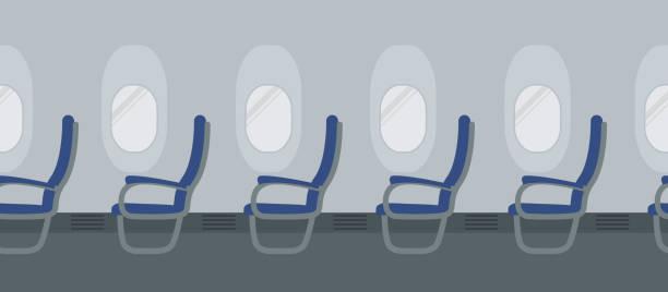 uçak iç kabinlerin zemin üzerine mavi sandalye ile - airplane seat stock illustrations
