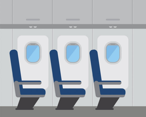 aircraft interior with windows and seats, vector illustration - fahrzeugsitz stock-grafiken, -clipart, -cartoons und -symbole