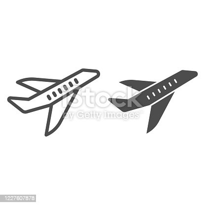 Aircraft line and solid icon, transport concept, flying plane sign on white background, airplane silhouette icon in outline style for mobile concept and web design. Vector graphics