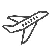Aircraft line icon, transport concept, flying plane sign on white background, airplane silhouette icon in outline style for mobile concept and web design. Vector graphics