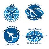 Aircraft logo vector emblems set