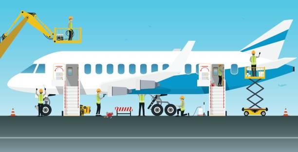 illustrations, cliparts, dessins animés et icônes de technicien d'entretien d'aéronefs - transport aérien