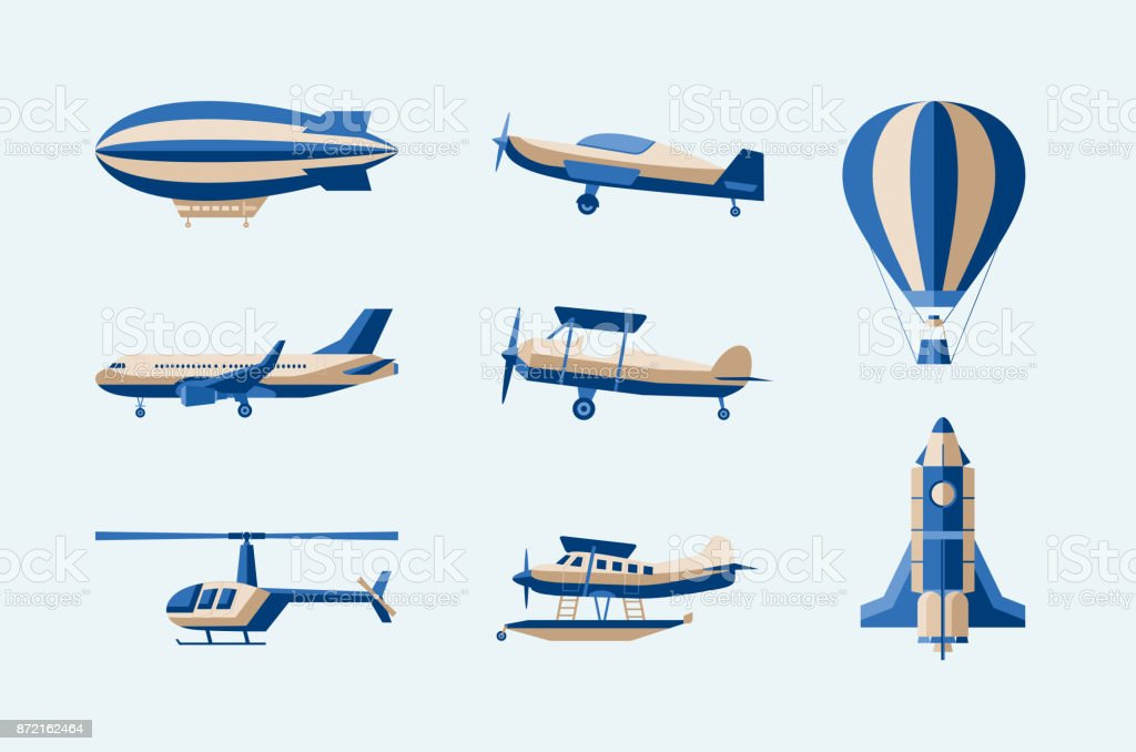 Aircraft - modern vector isolated set of objects