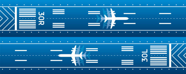 Aircraft on the runway. Aviation transportation illustration. Plane is on the runway. Vector design Aircraft on the runway. Aviation transportation illustration. Plane is on the runway. Vector design airport drawings stock illustrations