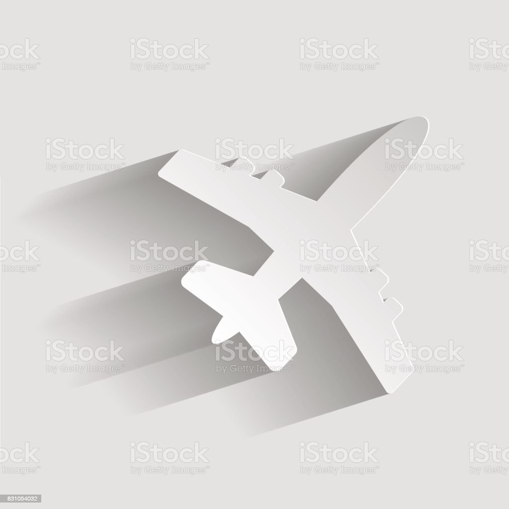 Aircraft or airplane icon. Flat vector illustration with shadow design vector art illustration