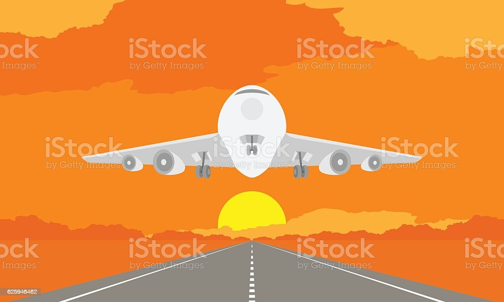 Aircraft or airplane landing or takeoff on runway in sunset vector art illustration