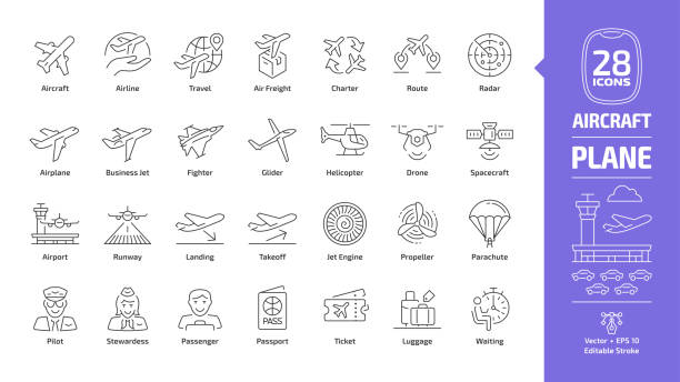 Aircraft outline icon set with flight plane editable stroke symbol: airline, travel, air freight, charter, route, radar, airplane, business jet, military fighter, glider, helicopter, drone, spacecraft Aircraft outline icon set with flight plane editable stroke symbol: airline, travel, air freight, charter, route, radar, airplane, business jet, military fighter, glider, helicopter, drone, spacecraft airplane symbols stock illustrations