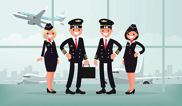 Aircraft personnel. The crew of civil airplane in the airport vector art illustration