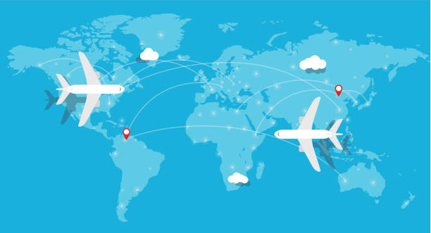 aircraft, plane flying, world map, earth - airline stock illustrations, clip art, cartoons, & icons