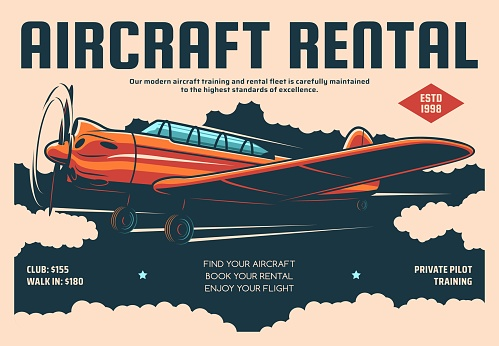Aircraft rental retro poster, plane pilot training