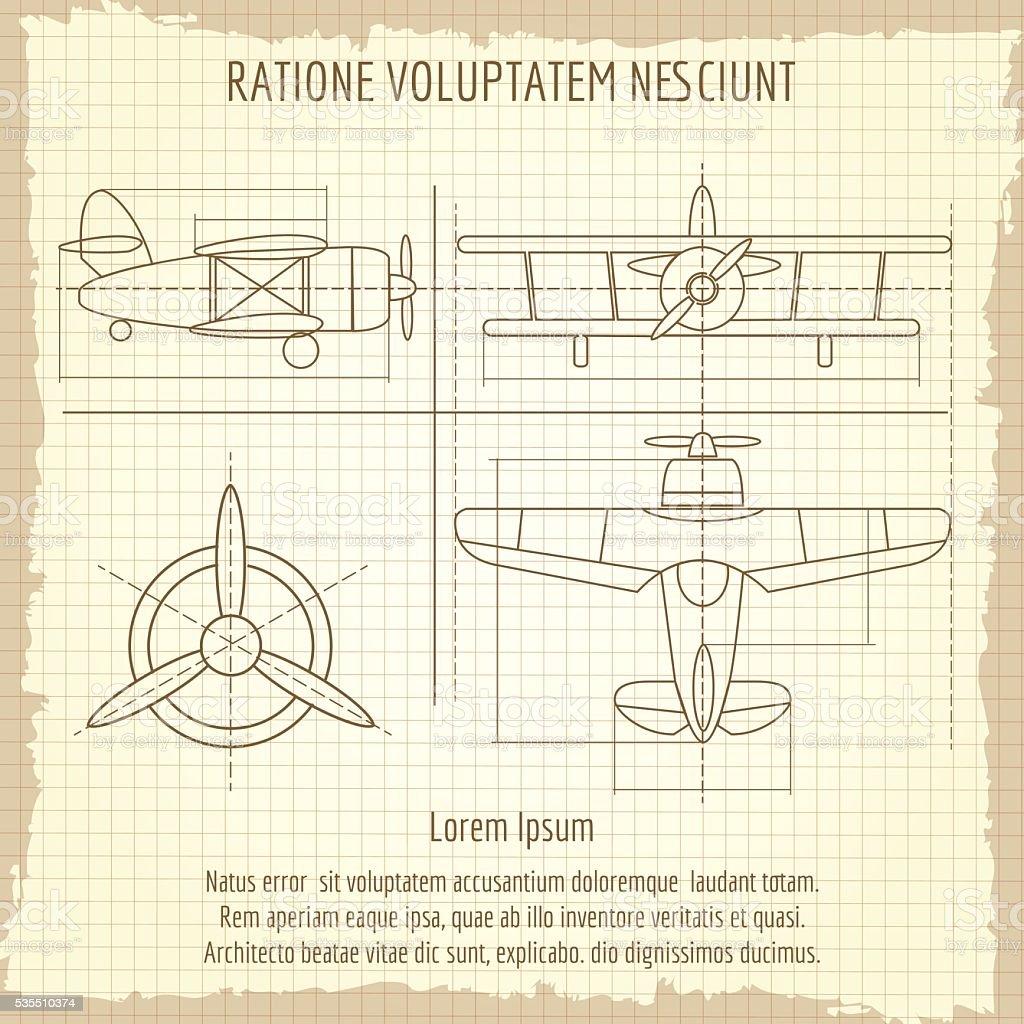 Aviones retro dibujo. Avión Vintage bosquejo de dibujo Vector de retro - ilustración de arte vectorial