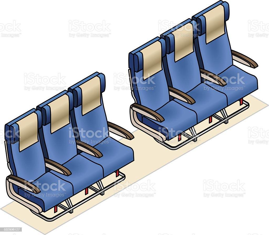 Aircraft Seating Row vector art illustration