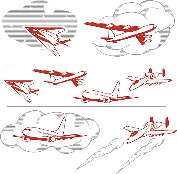 USA aircraft set vector art illustration
