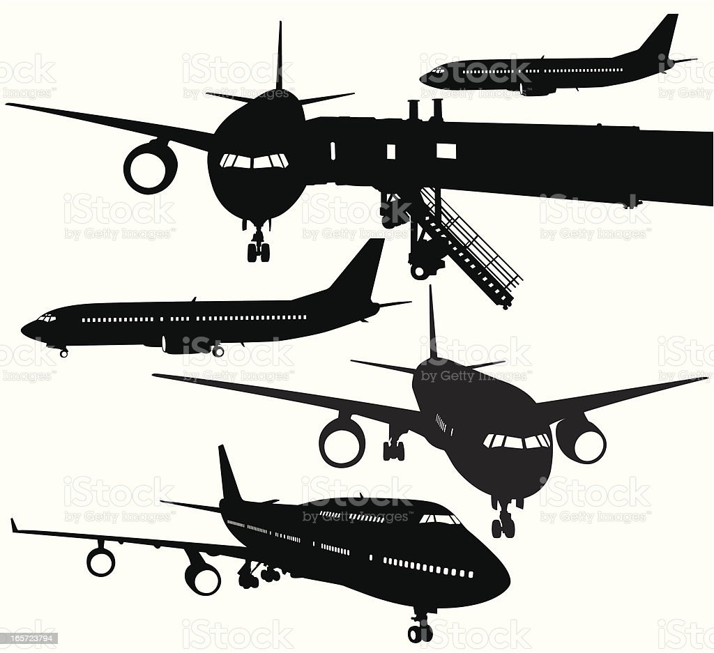 Aircraft Silhouette Collection vector art illustration