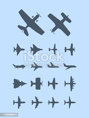 Aircraft silhouettes. Plane for travellers jet transportation vector aviation icons. Plane air flight jet silhouette, transport airplane illustration