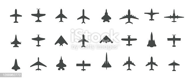 istock Aircraft top view icon set. Set of black silhouette airplanes, jets, airliners and retro planes icons. Isolated vector logos template on white background. 1255952772