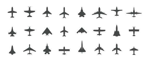 Aircraft top view icon set. Set of black silhouette airplanes, jets, airliners and retro planes icons. Isolated vector logos template on white background. Aircraft top view icon set. Set of black silhouette airplanes, jets, airliners and retro planes icons. Isolated vector logos template on white background airport silhouettes stock illustrations