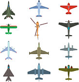 aircraft top view vector illustration.