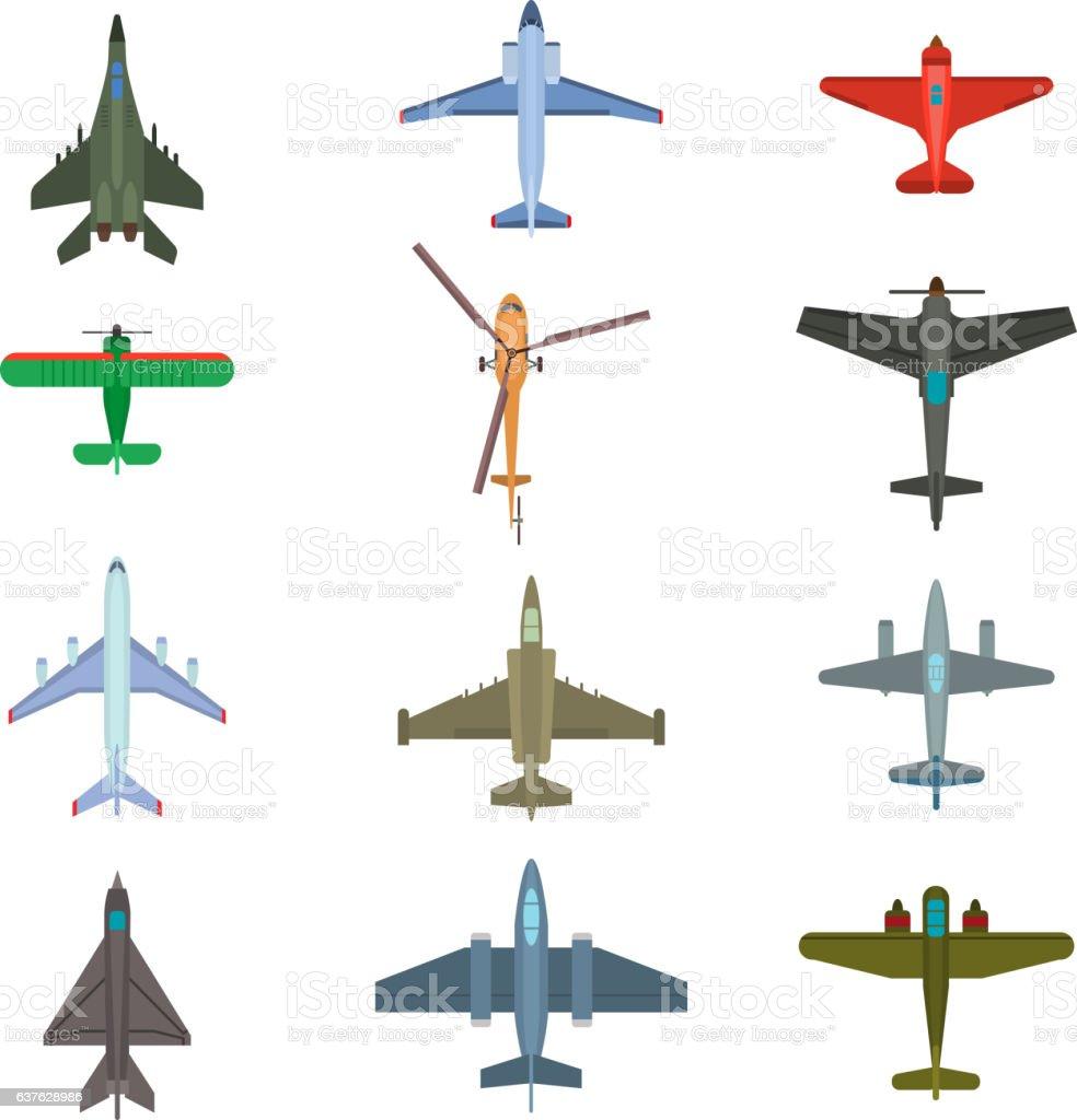 aircraft top view vector illustration. vector art illustration