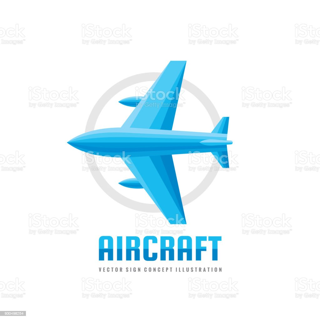 Aircraft vector business sign template concept illustration in flat aircraft vector business sign template concept illustration in flat style airplane creative sign wajeb Images