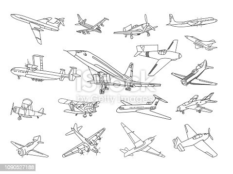 Vector set of different types of airplanes.
