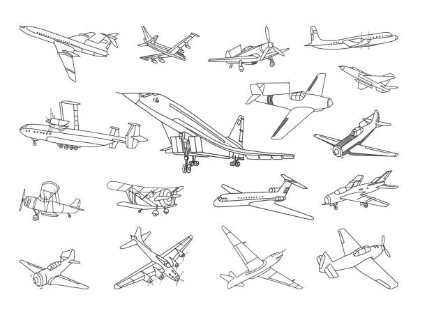 Aircraft Vector Doodles Set Vector set of different types of airplanes. airport drawings stock illustrations