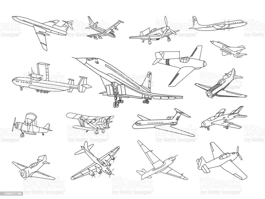 Aircraft Vector Doodles Set vector art illustration