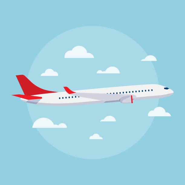 ilustraciones, imágenes clip art, dibujos animados e iconos de stock de vector de ilustración plano de aviones - avión