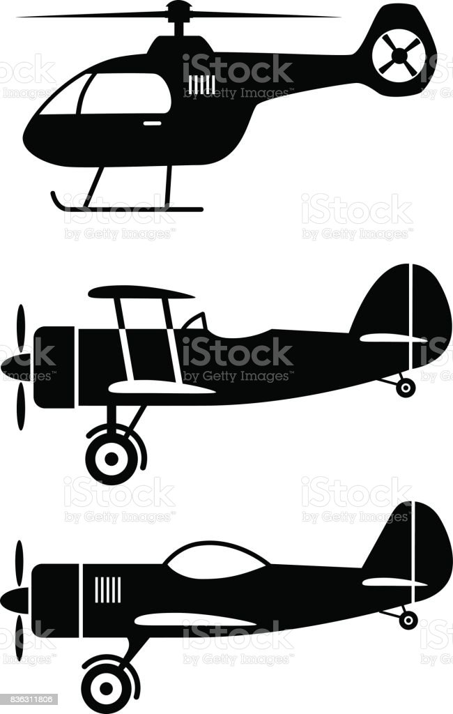 Aircraft vector icons vector art illustration