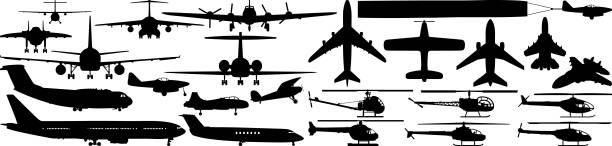 Aircraft Plane and helicopter silhouettes. private airplane stock illustrations