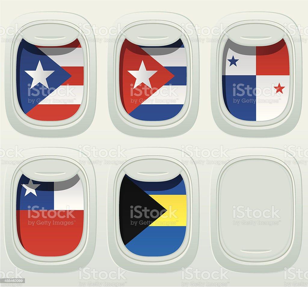 Bandera nacional de la ventana de avión - ilustración de arte vectorial