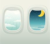Aircraft window with a view of day and night. Zip contains AI and PDF formats.