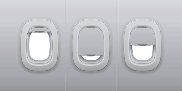 Aircraft windows. Airplane indoor portholes, plane interior window and fuselage glass porthole 3d vector illustration Aircraft windows. Airplane indoor portholes, plane interior window and fuselage glass porthole. Plastic or glass plane windows 3d vector isolated illustration set plane stock illustrations