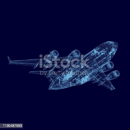 istock Aircraft wireframe 1130487553
