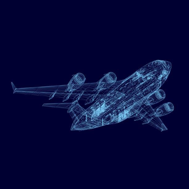 illustrations, cliparts, dessins animés et icônes de avion filaire - transport aérien