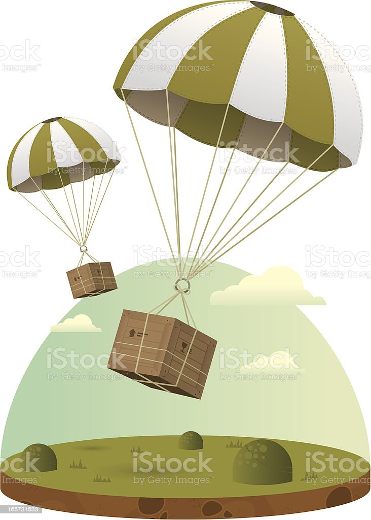 Airdrop of Supplies and Equipment vector art illustration