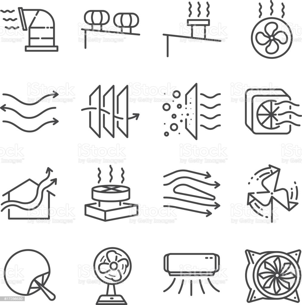Airflow line icon set. Included the icons as airflow, turbine, fan, air ventilation, Ventilators and more. vector art illustration