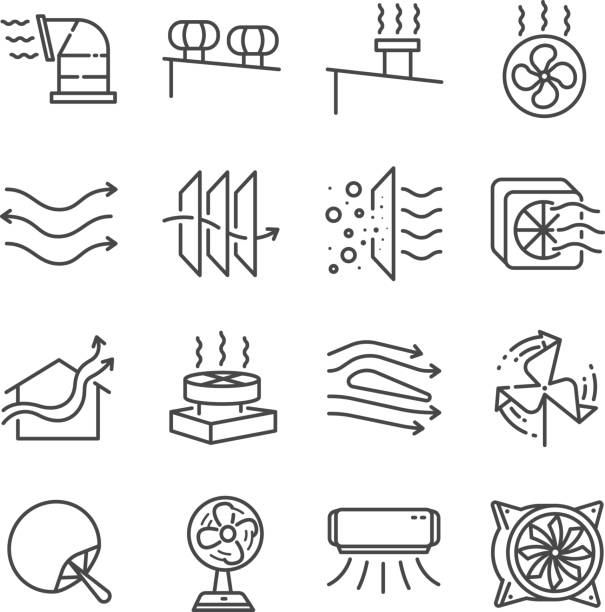 Airflow line icon set. Included the icons as airflow, turbine, fan, air ventilation, Ventilators and more. Airflow line icon set. Included the icons as airflow, turbine, fan, air ventilation, Ventilators and more. aerodynamic stock illustrations