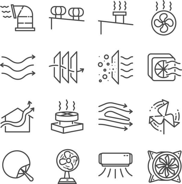 ilustrações, clipart, desenhos animados e ícones de conjunto de ícones de linha de fluxo de ar. incluídos os ícones como o fluxo de ar, turbina, ventilador, ar de ventilação, ventiladores e muito mais. - ar condicionado