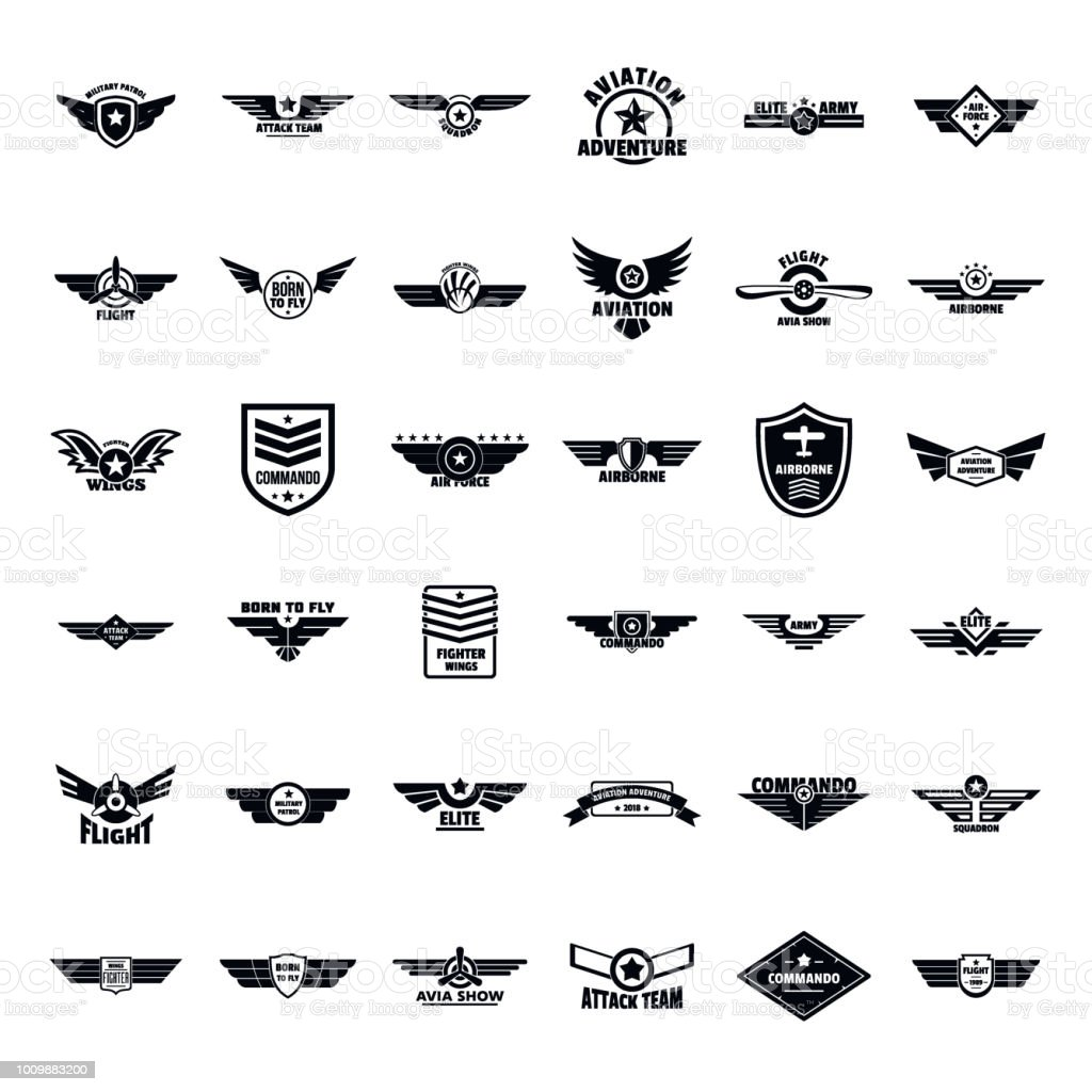 Airforce army badge logo icons set, simple style royalty-free airforce army badge logo icons set simple style stock illustration - download image now